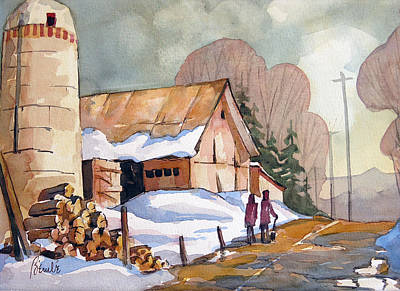 Snow Piles Painting - Chemin Vers Hudson 15x22 by Jean-Marc Berube