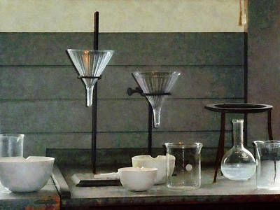 Science Photograph - Chemist - Funnels Flasks And Crucibles by Susan Savad