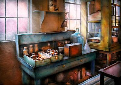 Chemist - Making Glue Art Print by Mike Savad
