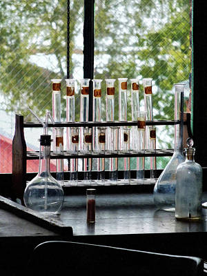 Windowsill Photograph - Chemist - Test Tubes By Window by Susan Savad