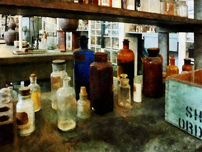 Test Tubes Photograph - Chemistry - Assorted Chemicals In Bottles by Susan Savad