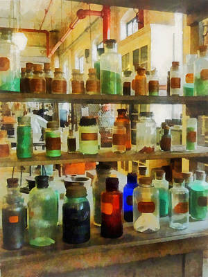 Photograph - Chemistry - Bottles Of Chemicals Green And Brown by Susan Savad