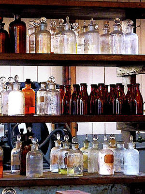 Lab Photograph - Chemistry - Bottles Of Chemicals On Shelves by Susan Savad