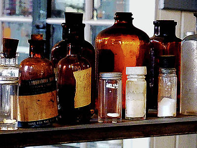 Glass Bottle Photograph - Chemistry - Brown Bottles by Susan Savad
