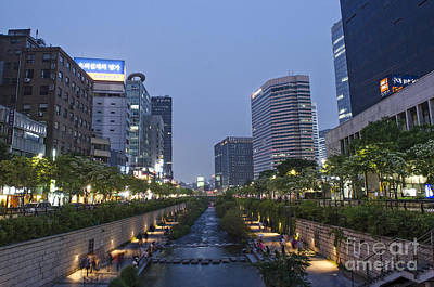 Cheonggyecheon Stream In Seoul South Korea Art Print