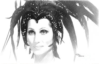 Icon Drawing - Cher Feathered Headdress by Donna  Schellack