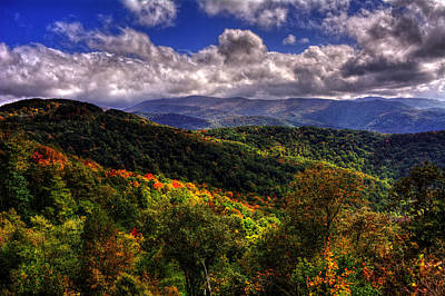 Yellow Photograph - Cherohala Skyway Brushy Ridge Overlook by Greg Mimbs