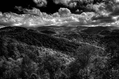 Photograph - Cherohala Skyway Brushy Ridge Overlook In Black And White by Greg Mimbs
