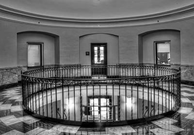 Photograph - Cherokee County Courthouse Second Floor In Black And White by Greg Mimbs