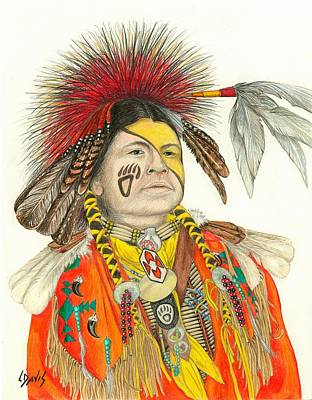 Drawing - Cherokee In Orange by Lew Davis