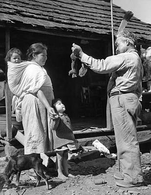 Cherokee Photograph - Cherokee Man With Squirrel by Underwood Archives