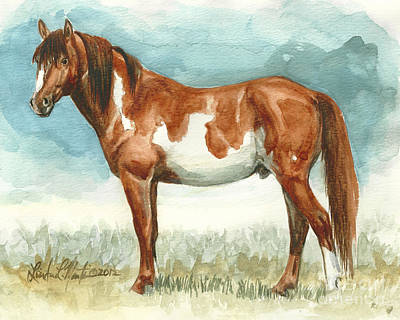 Mustang Painting - Cherokee Wild Stallion Of Sand Wash Basin by Linda L Martin