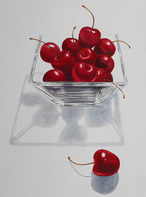 Fruit Painting - Cherries And Glass Bowl by Jean Yates