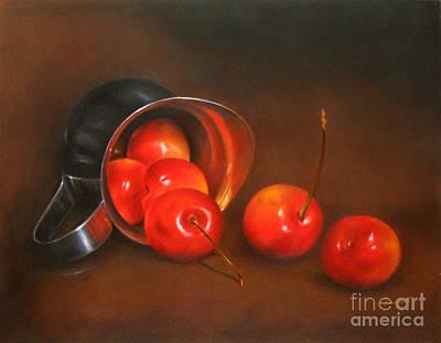 Color Pencil Drawing - Cherries And Silver by Ranjini Venkatachari