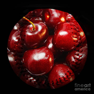 Photograph - Cherries Baseball Square by Andee Design