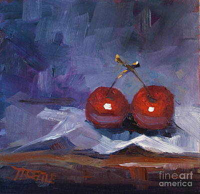Cherries Fruit Print Painting Original