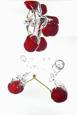 Cherries Fruits Splashing Underwater Art Print by Sami Sarkis