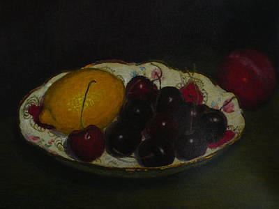 Painting - Cherries In A German Dish by Terry Perham
