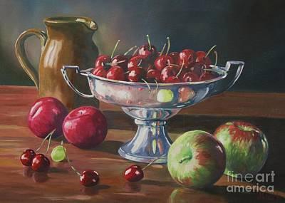 Cherries In Silver Bowl Art Print by John Clark