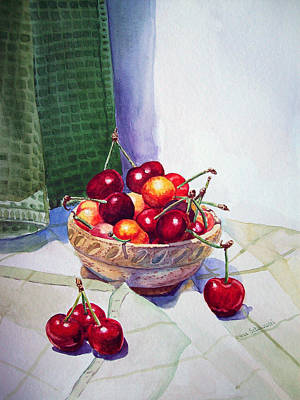 Printmaking Painting - Cherries by Irina Sztukowski