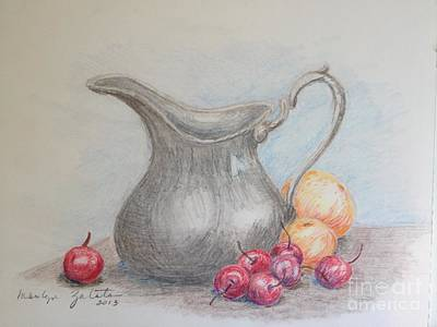 Art Print featuring the drawing Cherries Still Life by Marilyn Zalatan