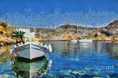 Painting - Cherronisos Bay In Sifnos Island by George Atsametakis