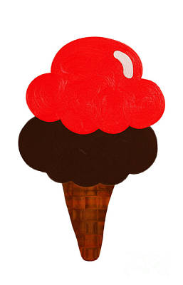 Digital Art - Cherry And Chocolate Ice Cream by Andee Design