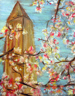 Washington Monument Mixed Media - Cherry Blossom by Amanda R Wright