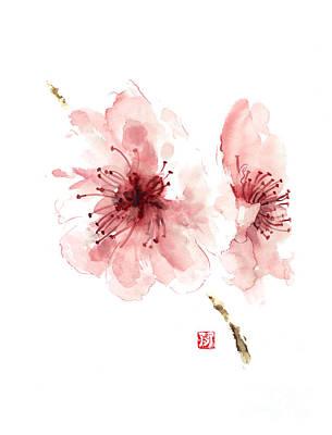 Cherry Blossom Art Print Watercolor Painting Japanese Flowers Large Poster Art Print by Joanna Szmerdt