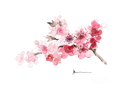 Cherry Blossom Branch Watercolor Art Print Painting Art Print by Joanna Szmerdt