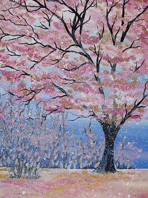 Oriental Style Painting - Cherry Blossom by Cathy Jacobs