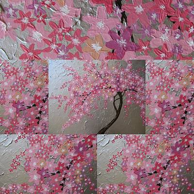 Pink Flower Branch Painting - Cherry Blossom Collage by Cathy Jacobs