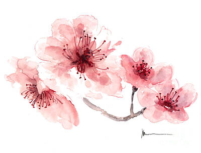 Sakura Painting - Cherry Blossom Fragrance Watercolor Art Print Painting by Joanna Szmerdt