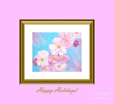 Digital Art - Cherry Blossom. Happy Holidays by Oksana Semenchenko