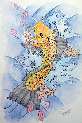 Tattoo Art Mixed Media - Cherry Blossom Koi Fish by Enrique Simmons