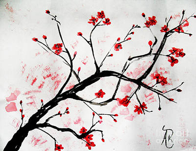 Cherry Blossoms Painting - Cherry Blossom Love by Andrea Realpe