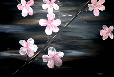 Silver Moonlight Painting - Cherry Blossom  by Mark Moore