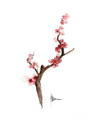 Cherry Blossoms Painting - Cherry Blossom Painting Art Print Watercolor Large Poster by Joanna Szmerdt