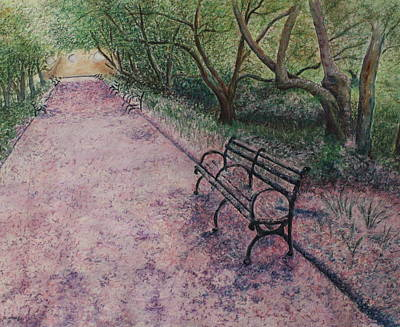 Urban Nature Study Painting - Cherry Blossom Pathway by Patsy Sharpe