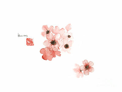 Cherry Blossoms Painting - Cherry Blossom Sakura Pink Flower Flowers Delicate Branch Brown Watercolor Painting by Johana Szmerdt