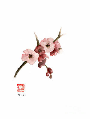 Pink Flower Branch Painting - Cherry Blossom Sakura  Pink Tree Delicate White Flower Flowers Branch Watercolor Painting by Johana Szmerdt