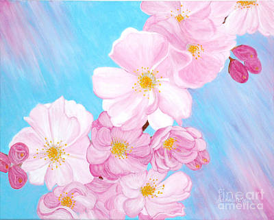 Art Print featuring the painting Cherry Blossom. Soul  Collection. by Oksana Semenchenko