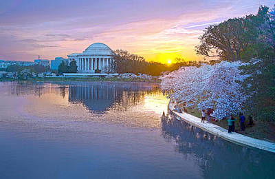Jefferson Memorial Digital Art - Cherry Blossom Sunrise Dance by Steven Barrows