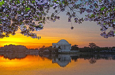 Jefferson Memorial Digital Art - Cherry Blossom Sunrise Washington D.c. by Steven Barrows