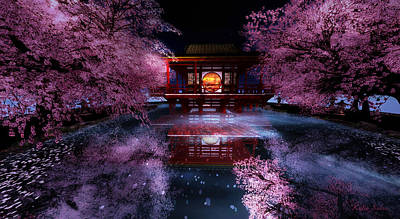 Digital Art - Cherry Blossom Tea House by Kylie Sabra