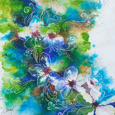 Art Print featuring the painting Cherry Blossom Tree by Christy  Freeman