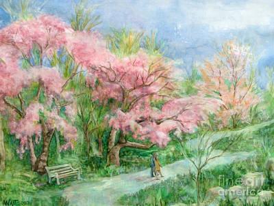 Painting - Cherry Blossom Walk by Nancy Wait