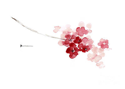 Sakura Painting - Cherry Blossom Watercolor Art Print Decor Japanese Sakura Home Decor by Joanna Szmerdt