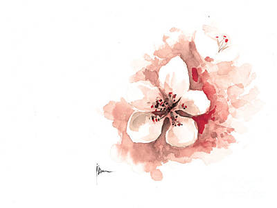 Cherry Blossom Watercolor Art Print Painting Sakura Art Print by Joanna Szmerdt