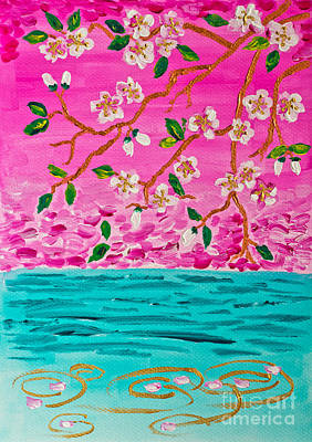 Cherry Blossoms Branch With Water Ripples Acrylic Painting Art Print by Beverly Claire Kaiya